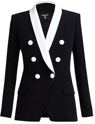Balmain Shawl Collar Double Breasted Crepe Jacket