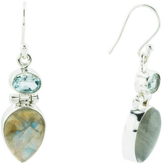 Made In India Sterling Silver Labradorite And Topaz Earrings