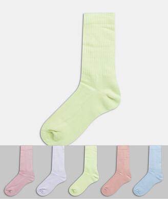 ASOS DESIGN sport socks in mauve shade 5 pack
