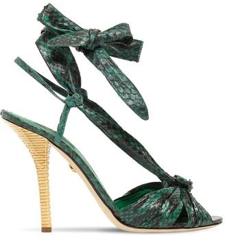 Dolce & Gabbana 105mm Snake Skin Lace-up Sandals