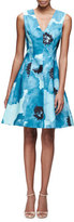 Lela Rose Sleeveless Floral-Print A-Line Dress, Blue/Multi
