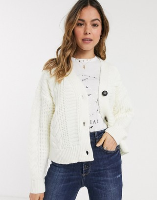 New Look cable knit cardigan in off white