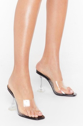 Nasty Gal Womens Clear Off Faux Leather Stiletto Mules - black - 3