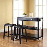 Crosley 42 in. Solid Granite Top Kitchen Island Cart with Two 24 in. Upholstered Stools in Black