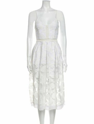 Nicholas Lace Pattern Midi Length Dress White