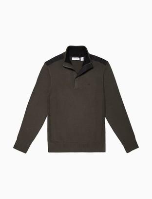Calvin Klein Regular Fit Mixed Media Zip Sweater
