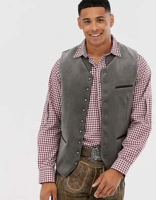 Stockerpoint Oktoberfest velvet vest with ornamental print-Grey
