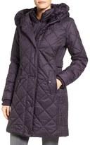 Larry Levine Women's Faux Fur Trim Long Quilted Coat With Inset Bib