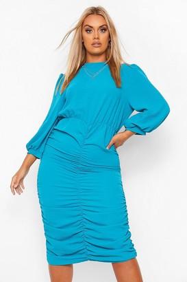 boohoo Plus High Neck Ruched Midi Dress