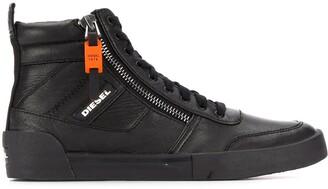 Diesel High-top sneakers in panelled suede