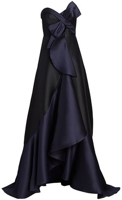 Marchesa Strapless Two-Toned Mikado Gown