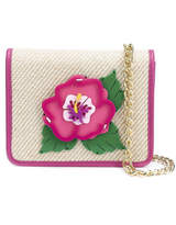Yazbukey Embroidered Flower Patch Flap Closure Clutch Bag - Pink