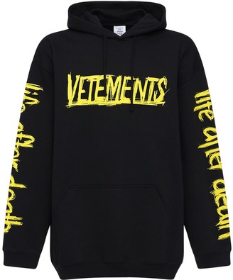 Vetements Logo World Tour Cotton Blend Hoodie