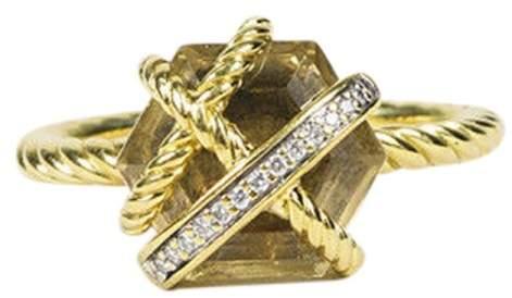 David Yurman 18K Yellow Gold with Diamond & Champagne Citrine Ring Size 7