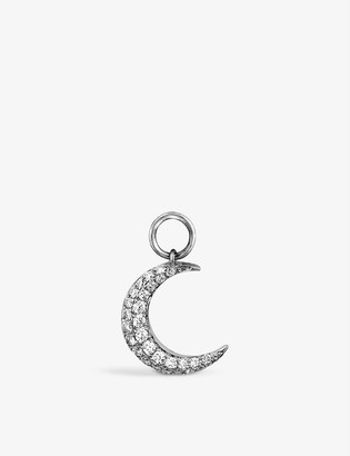 Roxanne First Crescent Moon 14ct white-gold and diamond dangly