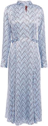 Equipment Printed Silk-satin Midi Shirt Dress