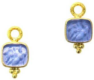 Elizabeth Locke Venetian Glass Intaglio Cerulean 'Pegasus & Goddess' Earring Pendants