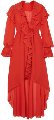 Philosophy di Lorenzo Serafini Asymmetric Ruffled Georgette Midi Dress