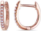 Zales 1/10 CT. T.W. Diamond Huggie Hoop Earrings in 10K Rose Gold