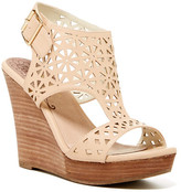 Restricted Miss Laser Cut Wedge Sandal