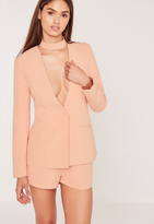 Missguided Choker Neck Blazer Pink
