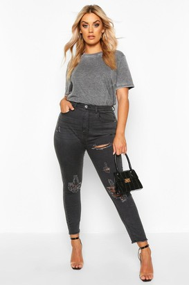 boohoo Plus Super Distressed Raw Hem Skinny Jeans