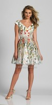 Dave and Johnny V-shape Cap Sleeve Floral Embroidered A-line Cocktail Dress