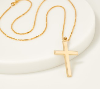 """Gold One 1K Gold Polished Cross Pendant with 18"""" Chain"""