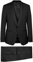 Hugo Boss Black Hanfrey Black Satin-trimmed Wool Suit