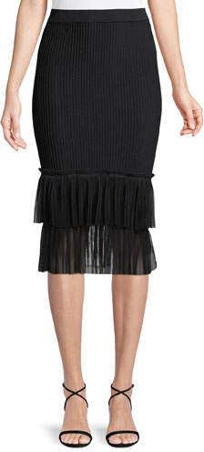 dd9f05501e Black Stretch Viscose Pencil Skirt - ShopStyle