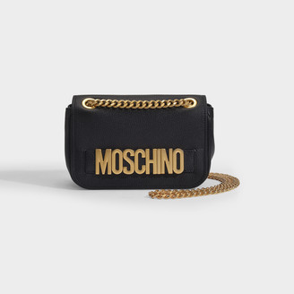 Moschino Shoulder Bag In Black Leather With Golden Logo