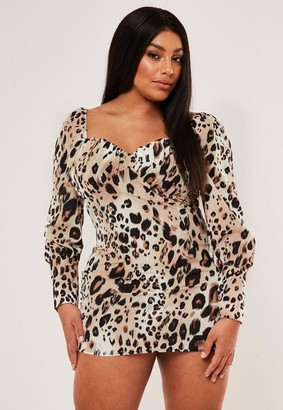 Missguided Plus Size Brown Leopard Print Sweetheart Mini Dress
