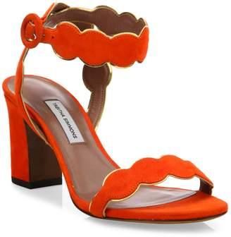 Tabitha Simmons Cloud Suede Ankle-Strap Block Heel Sandals