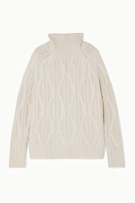 Nili Lotan Merya Cable-knit Cashmere Turtleneck Sweater - Cream