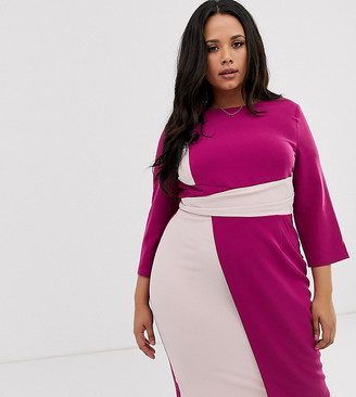 Paper Dolls Plus 3/4 sleeve asymmetric pencil dress in colourblock