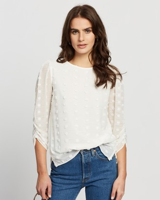 Dorothy Perkins Flocked Ruched 3/4 Sleeve Top