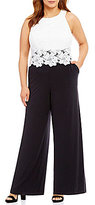 Sangria Plus Floral Lace Popover Jumpsuit