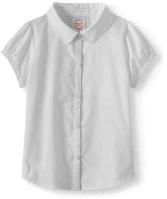 Wonder Nation Toddler Girls 2-5 School Uniform Short Sleeve Poplin Button-Up Blouse