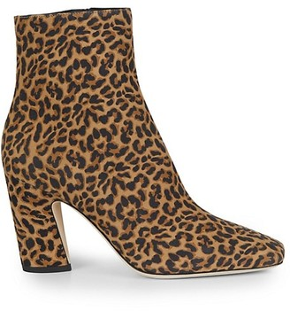 Jimmy Choo Mirren Square-Toe Leopard-Print Leather Ankle Boots