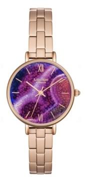 """Lola Rose Luck"""", Ladies, Aqua purple Agate Printed Stone Dial, Genuine Rose Quartz Crown, 30MM"""