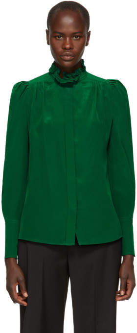 Isabel Marant Green Silk Lamia Shirt
