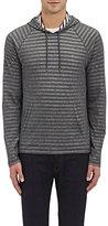 John Varvatos Men's Striped Knit Hoodie-Grey
