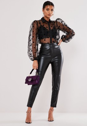 Missguided Black Faux Leather Biker Detail Trousers