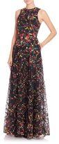 Elie Saab Sleeveless Floral-Print Gown