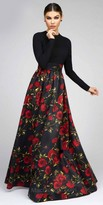 Mac Duggal Floral Long Sleeve Fit and Flare Ball Gown