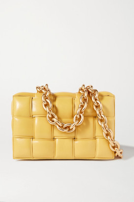Bottega Veneta Cassette Chain-embellished Padded Intrecciato Leather Shoulder Bag - Yellow