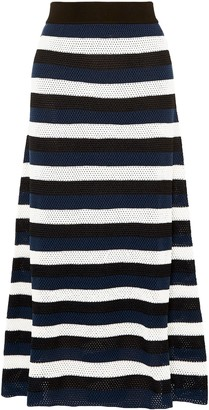 Sonia Rykiel Striped Open-knit Wool-blend Maxi Skirt