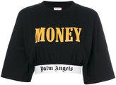 Palm Angels cropped logo trim T-shirt