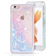 Urberry Iphone 5C Case, Running Glitter Cover, Sparkle Love Heart, Creative Design Flowing Liquid Floating Luxury Bling Glitter Sparkle Hard Case for iPhone 5C with a Screen Protector