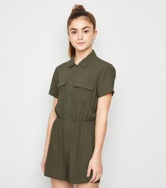 New Look Girls Utility Zip Playsuit